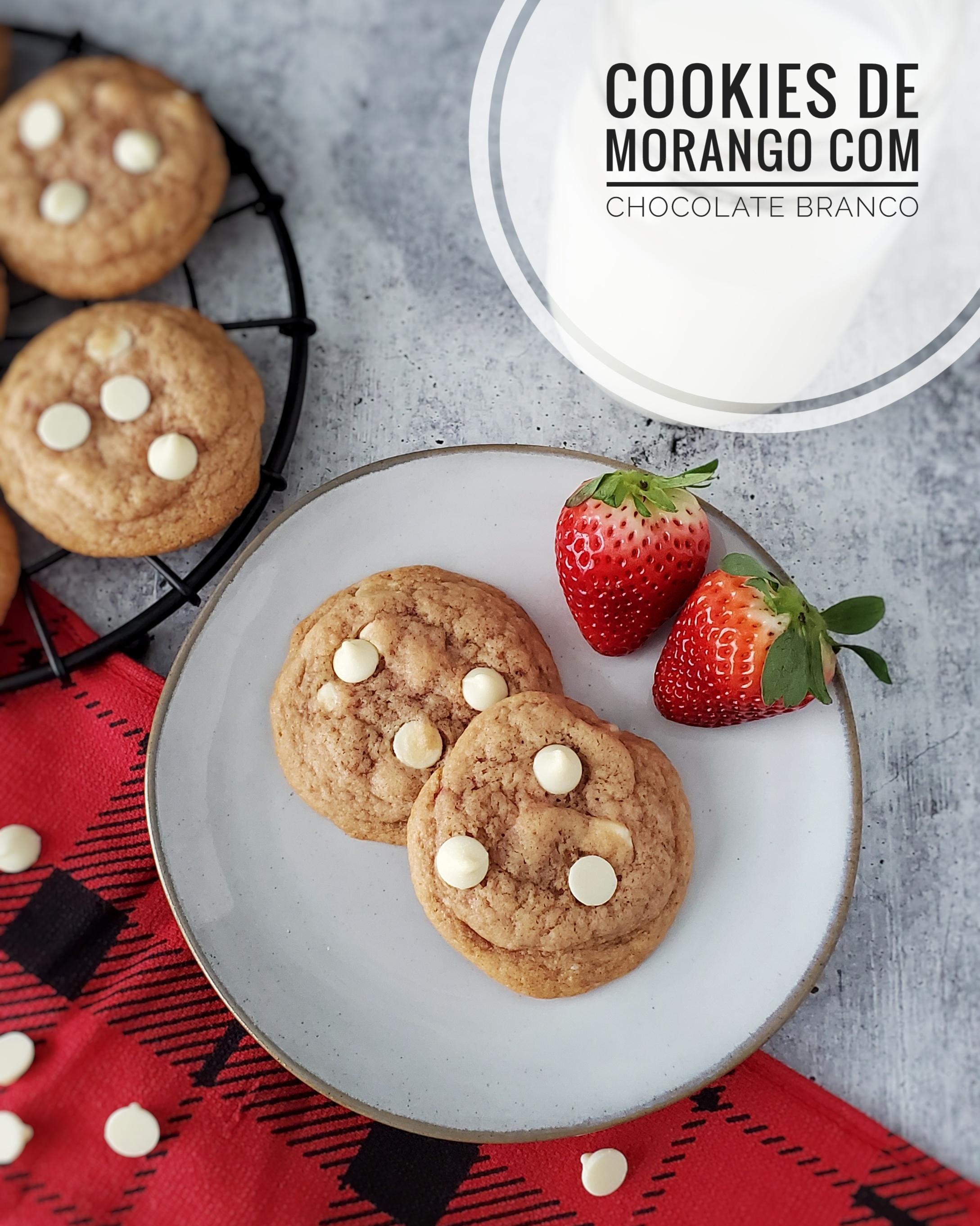 Cookies de Morango com Chocolate Branco