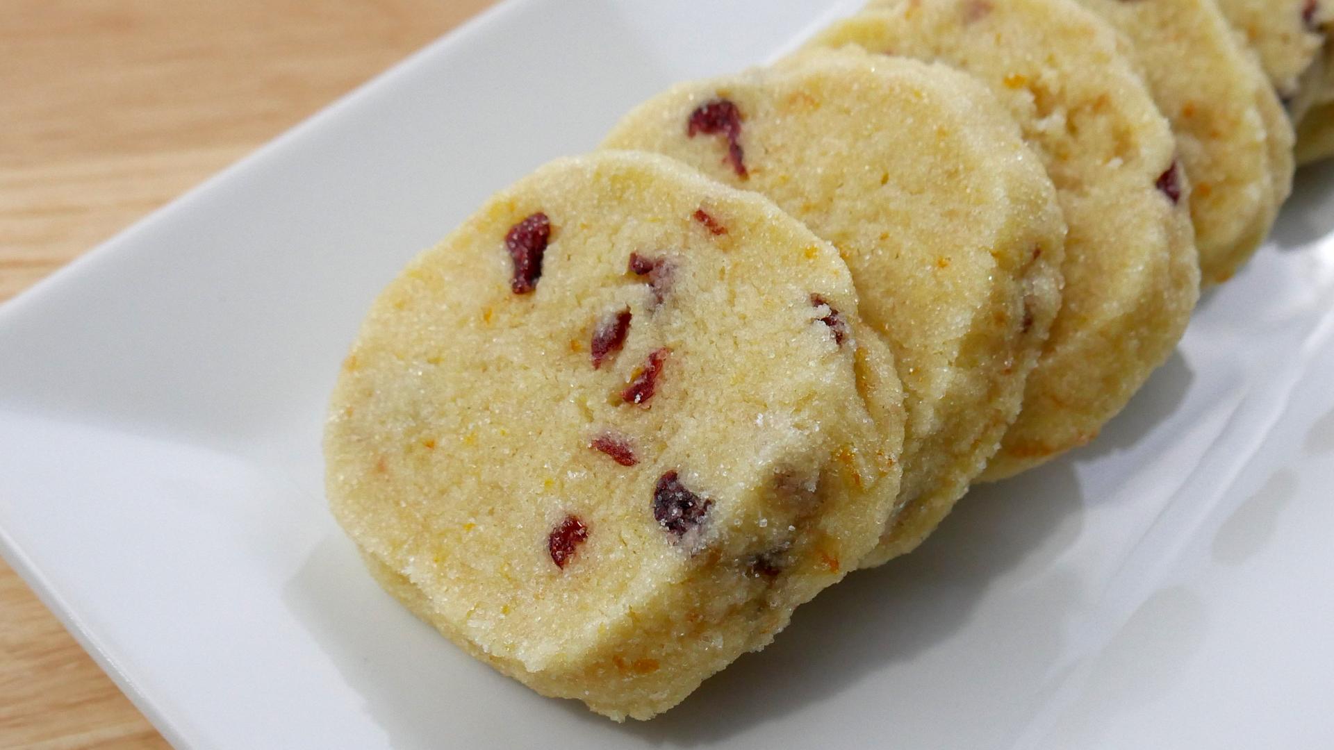 Biscoito Amanteigado de Laranja e Cranberry